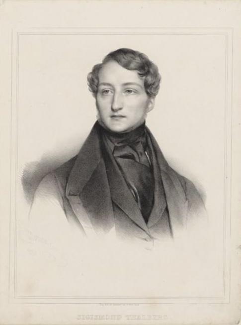 24세의 탈베르크. 기교파 연주자로 한때 리스트와 경쟁을 벌였다. 석판화. 1836. Henri Grevedon. 프랑스 국립 도서관 소장. [사진 Wikimedia Commons (Public Domain)]