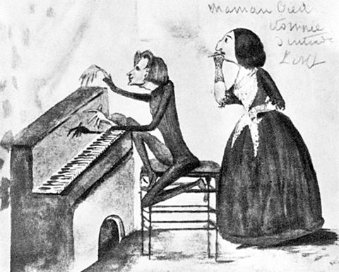 리스트와 상드. 상드의 아들 모리스의 스케치. 1837경. '리스트의 연주를 듣고 아주 크게 놀란 엄마'라고 적혀있다. 리스트가 마리 다구와 노앙에 체류할 때 그려진 것 같다. 조르주 상드 기념관, 라 샤트르 (La Chatre, Musée George Sand et De La Vallée Noire) 소장