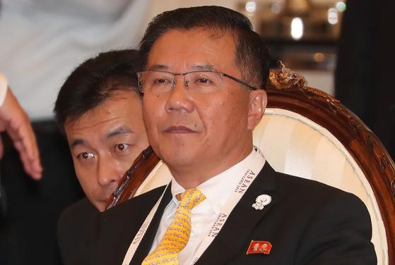 김제봉 태국 주재 북한대사가 2일 ARF 외교장관회의에 참석해 자리에 앉아있다. [뉴스1]