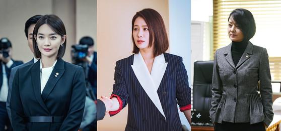 왼쪽부터 드라마 '보좌관'의 신민아, '왓쳐'의 김현주, '60일, 지정생존자'의 배종옥. 성공한 여성 정치인과 법조인의 패션이 새롭게 조명되고 있다. [사진 JTBC OCN tvN]
