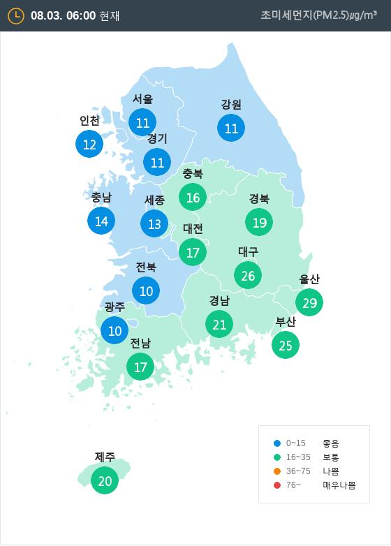 [8월 3일 PM2.5]  오전 6시 전국 초미세먼지 현황