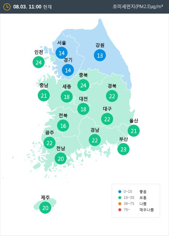 [8월 3일 PM2.5]  오전 11시 전국 초미세먼지 현황