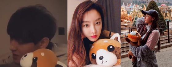 같은 팬더 인형을 들고 사진을 찍은 강타와 정유미, 우주안. 이들은 해당 사진을 과거 자신의 인스타그램에 각각 공개했다.