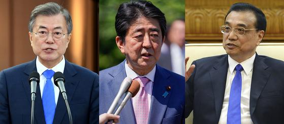 문재인 대통령과 아베 신조 일본 총리, 리커창 중국 국무원 총리. [연합뉴스]