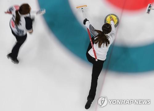 평창동계올림픽 여자컬링 경기 모습. [연합뉴스]