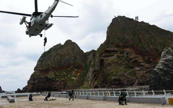 사진은 2013년 10월 해군 특전대대(UDT/SEAL) 및 해경 특공대 대원들이 독도방어 훈련을 하는 모습. [연합뉴스]