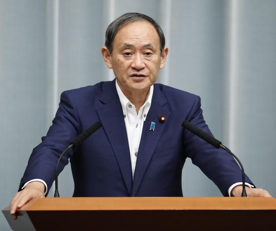 스가 요시히데 일본 관방장관이 기자회견을 하고 있다. [연합뉴스]