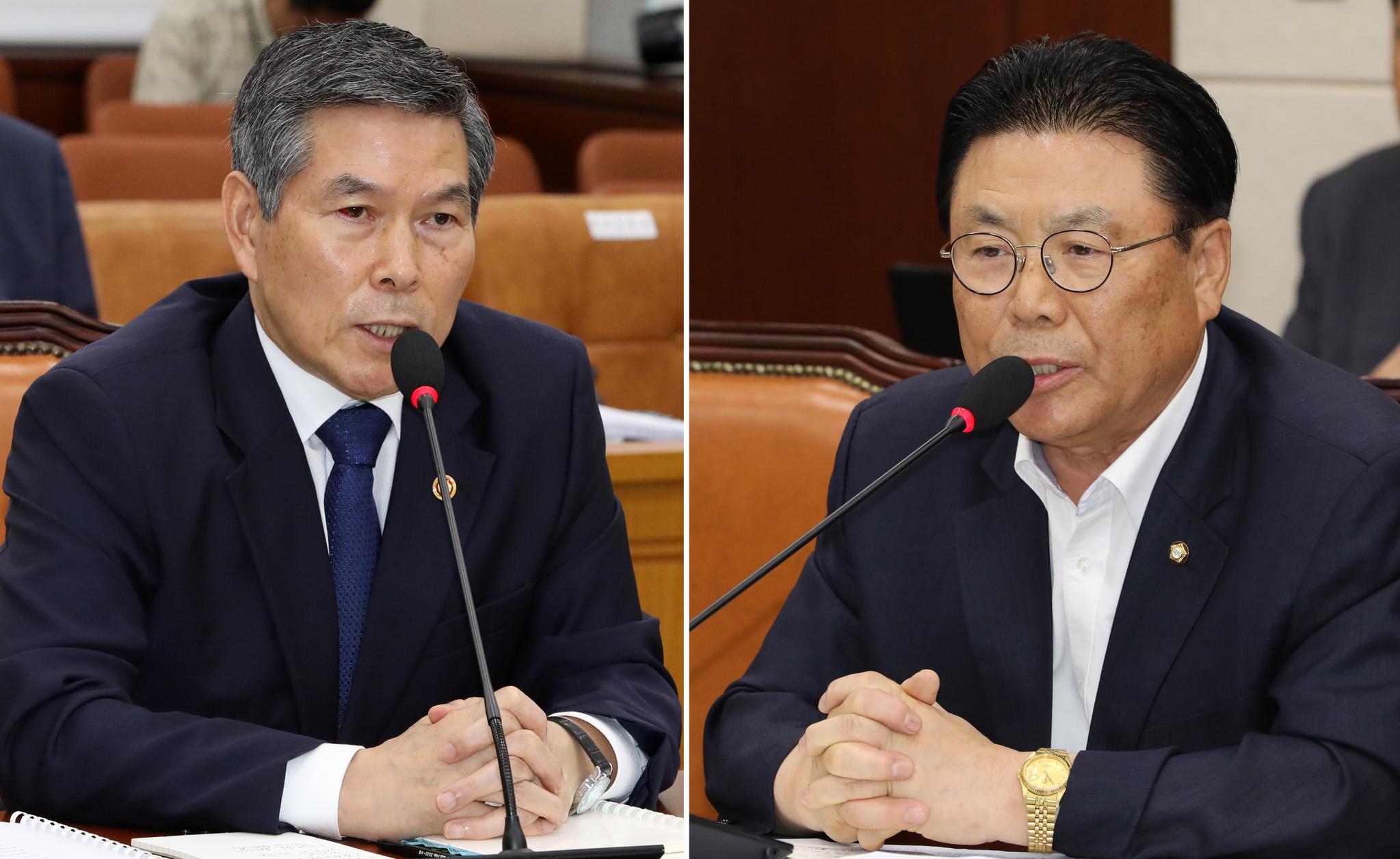 박맹우 자유한국당 의원(오른쪽)이 5일 서울 여의도 국회에서 열린 국방위원회 전체회의에서 정경두 국방부 장관에게 '북한의 대변인 이라는 생각이 들게하는 발언을 하고 있다'고 말했다. 이에 대해 정경두 국방부 장관은 박맹우 의원에게 '북한의 대변인' 발언에 대한 사과와 취소를 요구했다. [뉴스1]