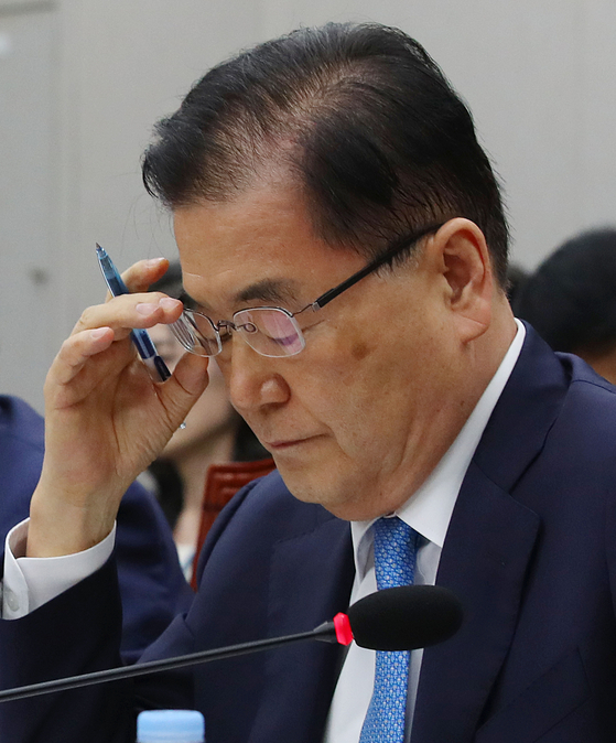정의용 청와대 국가안보실장이 6일 국회에서 열린 운영위원회 전체회의에서 안경을 고쳐 쓰고 있다. [연합뉴스]