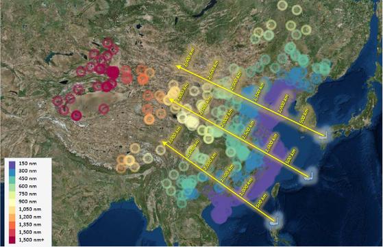 워싱턴 싱크탱크 전략예산평가센터(CSBA)가 지난 5월 제안한 미국의 중거리 미사일 배치 개념도. 일본 규슈, 오키나와, 필리핀 루손 섬에서 중국의 주요 군사시설과 거리를 표시했다. 중국 우주시설 및 위성공격 시설들은 가장 멀리 내륙 종심에 위치해 있다.[CSBA 보고서]