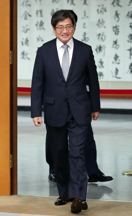 김명수 대법원장이 지난달 24일 오후 서울 서초구 대법원에서 열린 상고제도 개편 간담회에 참석하고 있다. [뉴스1]