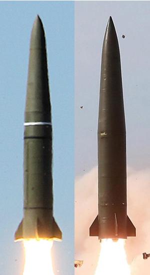러시아 이스칸데르(왼쪽)과 북한이 4일 쏘아올린 발사체. [마르쿠스 실러 트위터]