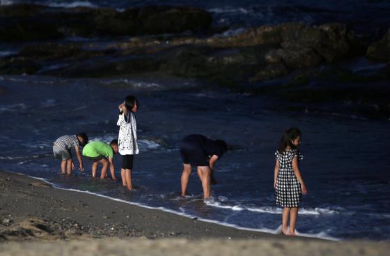 대낮의 폭염이 야간까지 이어진 지난달 23일 저녁 피서객이 강원 강릉시 경포해변에서 무더위를 식히고 있다. [연합뉴스]