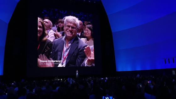 스티브 몰렌코프 퀄컴 CEO가 7일(현지시간) '갤럭시 언팩 2019'에 깜짝 등장했다. 뉴욕=김정민 기자