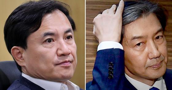 김진태 자유한국당 의원(왼쪽)과 조국 법무부장관 후보자. [연합뉴스·뉴스1]