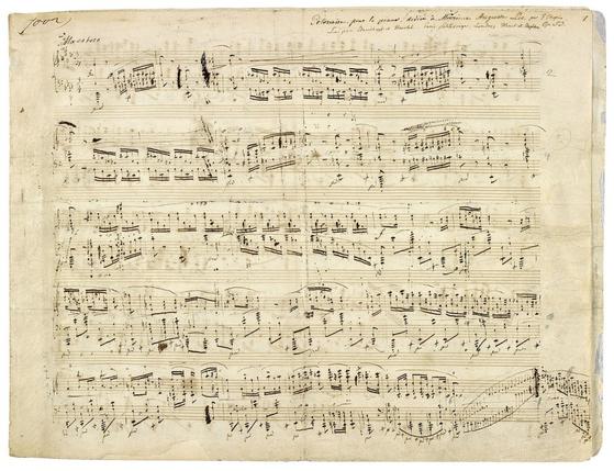 쇼팽의 폴로네이즈, 작품번호 53 '영웅'의 자필 악보. 쇼팽의 작품 중 가장 웅장하고 남성적이며, 기법 또한 원숙한 곡이다. [출처 Wikimedia Commons (Public Domain)]