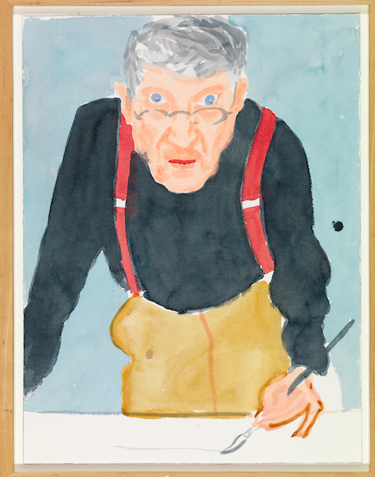 "붉은 멜빵을 한 자화상(Self Portrait with Red Braces, 2003, Watercolour on paper 24"" x 18 1/8"", ⓒ David Hockney) [사진 Richard Schmidt, 그린나래미디어]"