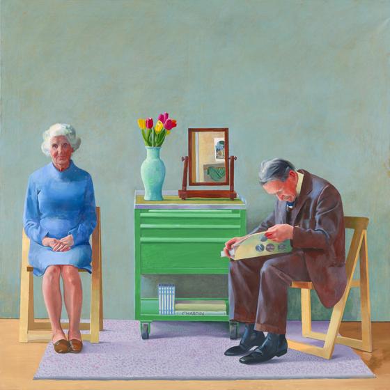 호크니가 부모님을 그린 '나의 부모님'(1977, 캔버스에 유채, 182.9ⅹ182.9 cm.ⓒ David Hockney, Collection Tate, U.K. ⓒ Tate, London 2019) [사진 서울시립미술관]