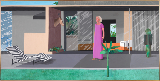 "비버리 힐스 가정주부(Beverley Hills Housewife, 1966-1967, Acrylic on canvas 72"" x 144"", ⓒ David Hockney) [사진 Richard Schmidt, 그린나래미디어]"