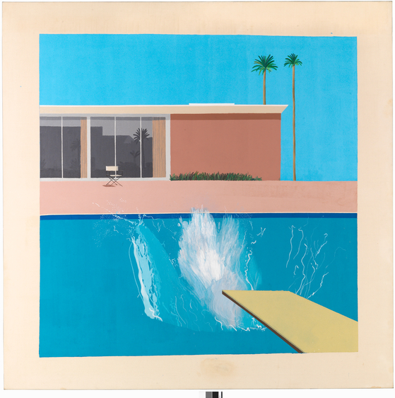 "더 큰 첨벙(A Bigger Splash, 1967, Acrylic on canvas, 96"" x 96"", ⓒ David Hockney) [사진 Collection Tate London, 그린나래미디어]"