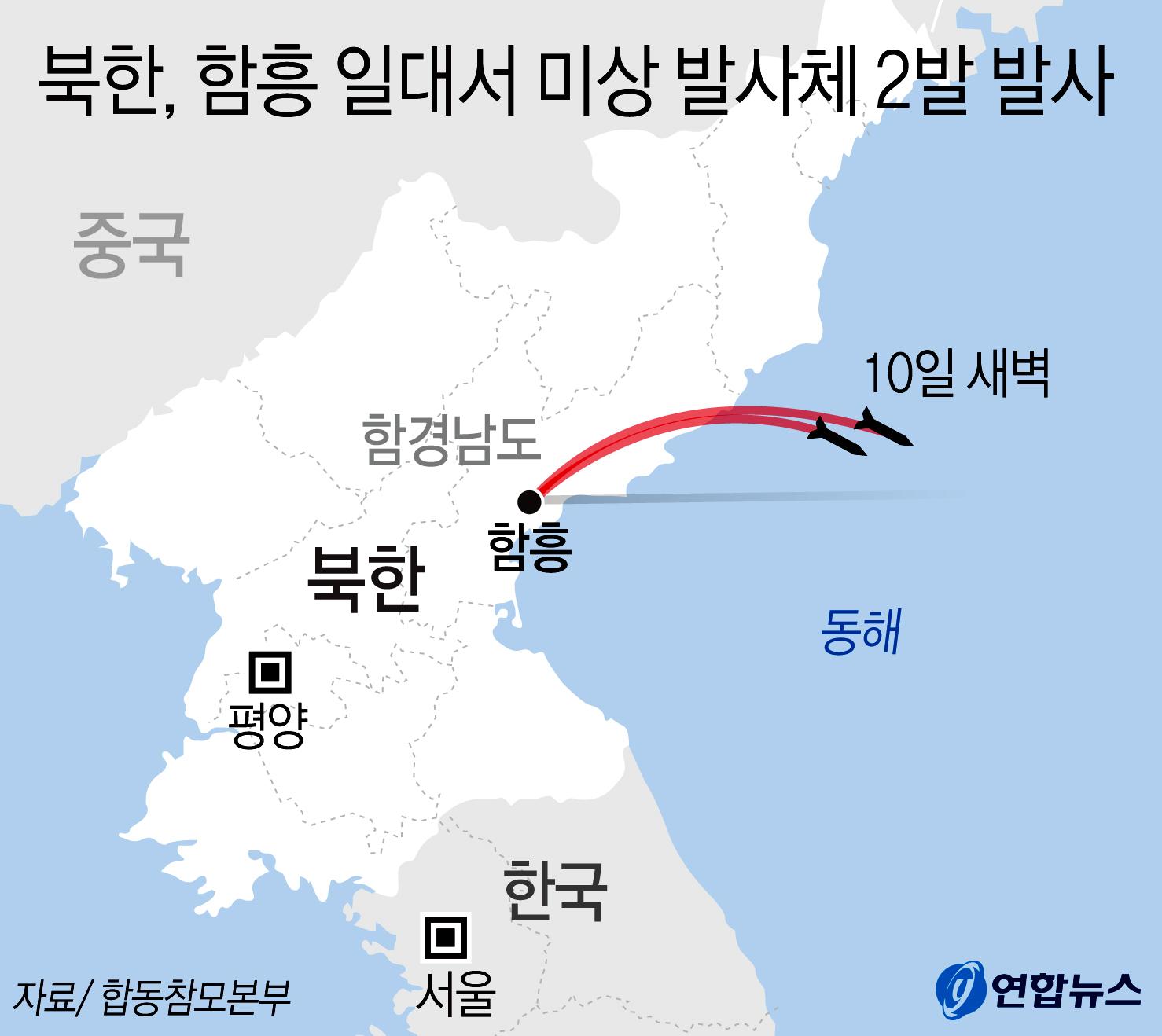 합동참모본부는 10일 북한이 발사한 단거리 미사일로 추정되는 발사체 2발을 포착했다고 밝혔다. [연합뉴스]