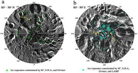 달 극지에 얼음이 대량 확인된 사진(왼쪽-남극, 오른쪽-북극). [사진 PNAS 저널]