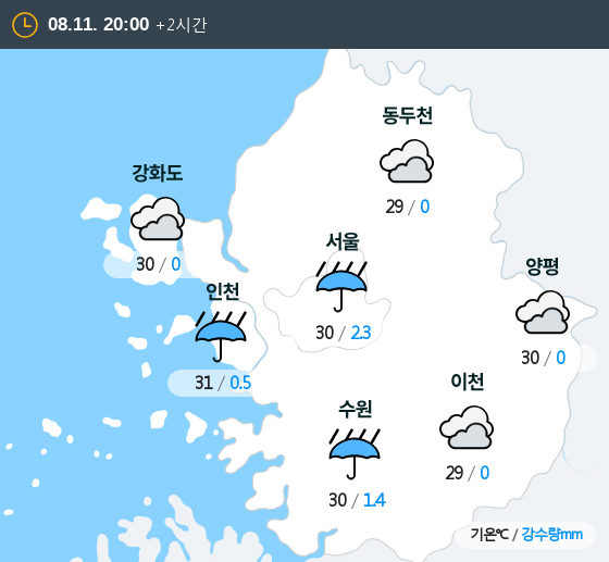 2019년 08월 11일 20시 수도권 날씨