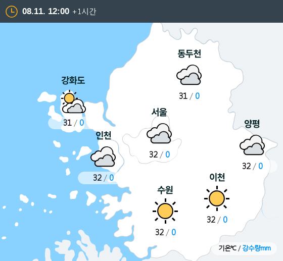 2019년 08월 11일 12시 수도권 날씨