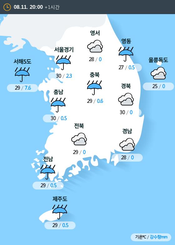 2019년 08월 11일 20시 전국 날씨