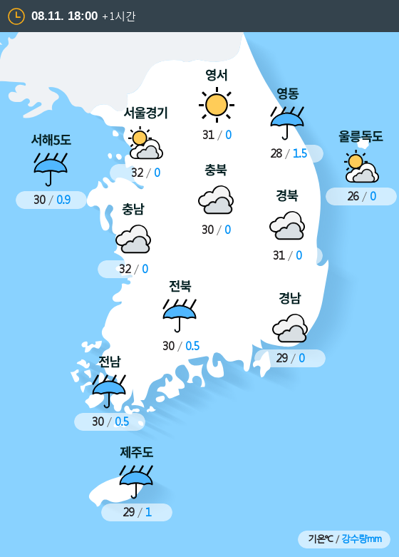 2019년 08월 11일 18시 전국 날씨