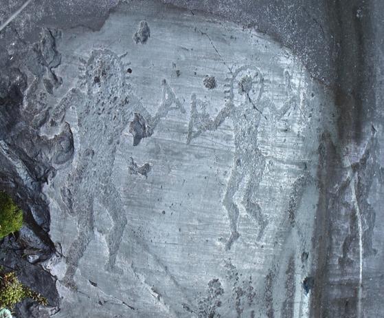 이탈리아 동굴에서 발견된 외계인 모양의 벽화. 선사 시대 때 그려졌다. 외계인이 오래전부터 지구에 온 증거라고 믿는 사람들이 많다. 밥 라자르는 외계인이 1만년 전부터 지구에 관여했다고 주장했다. [사진 위키피디아]