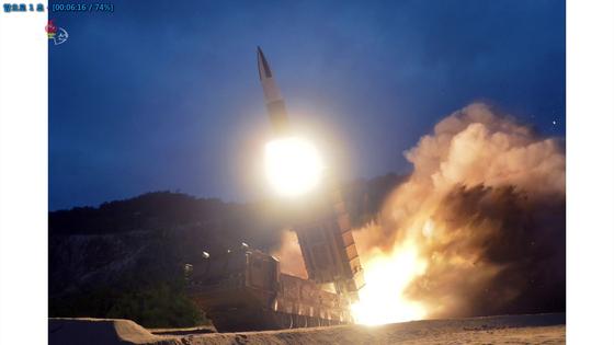 조선중앙TV가 공개한 지난 10일 '북한판 에이태킴스' 발사 장면. [조선중앙TV캡처=연합뉴스]
