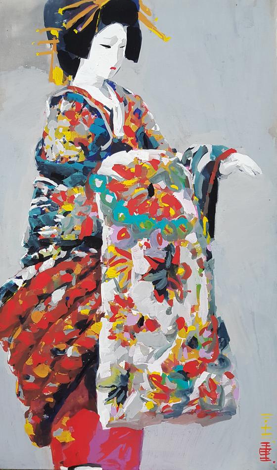 이중희 작가가 2012년 그린 작품 '일본여인'(크기 : 162.1x97cm, 재료 : 캔버스 위 아크릴과슈). [연합뉴스]