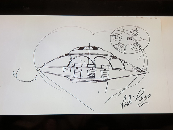 밥 라자르가 봤다는 외계인 비행접시. 다큐멘터리에서 그가 집접 스케치북에서 그리면서 작동 원리를 설명했다. [사진 넷플릭스 캡처]