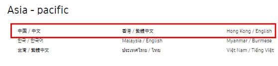 삼성전자 글로벌 홈페이지에는 세계 각 국가(지역)와 언어가 표기돼 있다. [삼성전자 홈페이지]