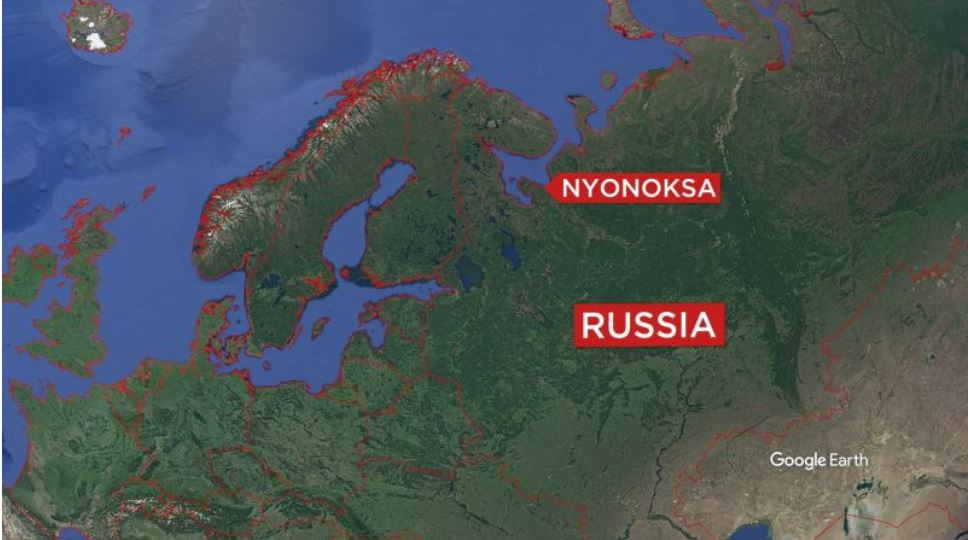 폭발 사고가 발생한 러시아 북서부 뇨녹크스 지역. [구글어스 캡처]