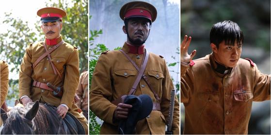 영화 '봉오동 전투'에 출연한 일본 배우 (왼쪽부터) 키타무라 카즈키, 이케우치 히로유키, 다이고 코타로. [사진 쇼박스]