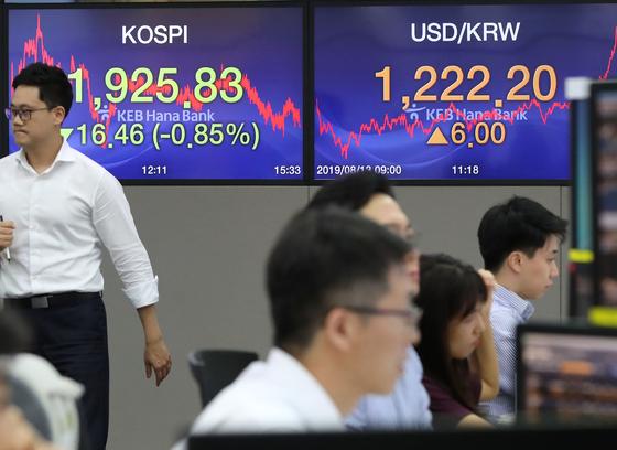 13일 오후 서울 중구 KEB하나은행 딜링룸 [연합뉴스]