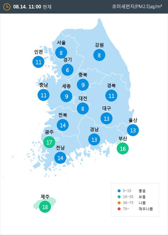 [8월 14일 PM2.5]  오전 11시 전국 초미세먼지 현황