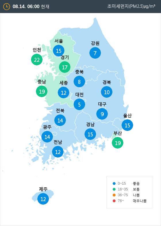 [8월 14일 PM2.5]  오전 6시 전국 초미세먼지 현황