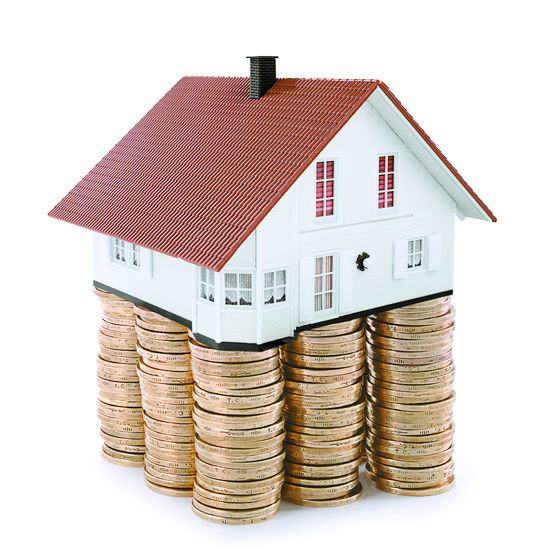 House at the top of stack of coins as concept related to real estate business. ; Shutterstock ID 539773519; 프로젝트: 중앙일보 지면; 담당자: 디자인데스크
