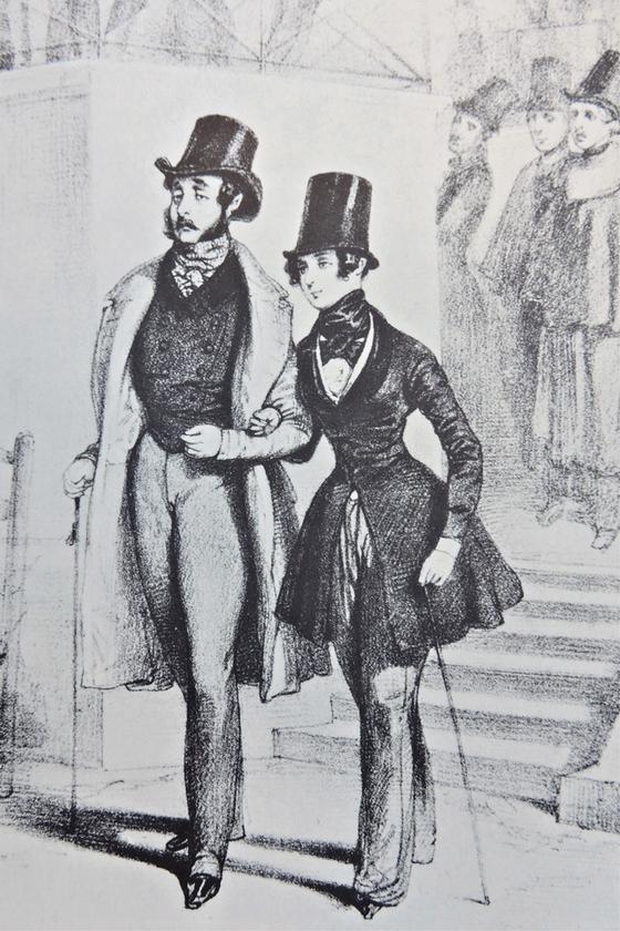 남자 옷을 입은 조르주 상드. 폴 가바르니(Paul Gavarni)의 석판화. 1840년경. [사진 조르주 상드 기념관 (Musee George Sand Et De La Vallee Noire. la chatre).]