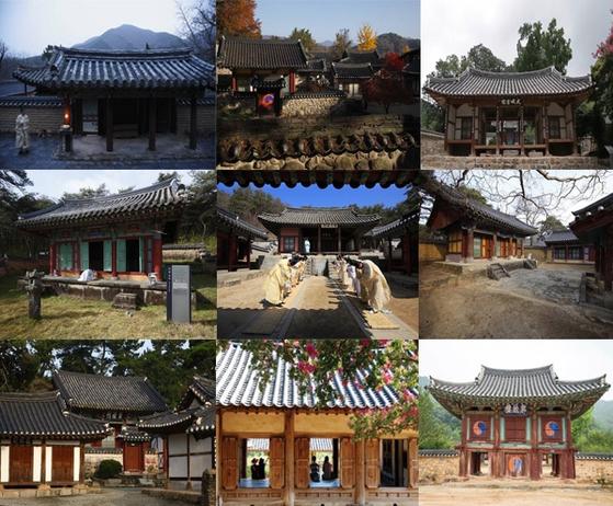 왼쪽 위부터 옥산서원, 소수서원, 무성서원, 도동서원, 도산서원,남계서원, 도남서원, 병산서원, 필암서원 [이미지 출처: UNESCO, Korea Times, Cefia]