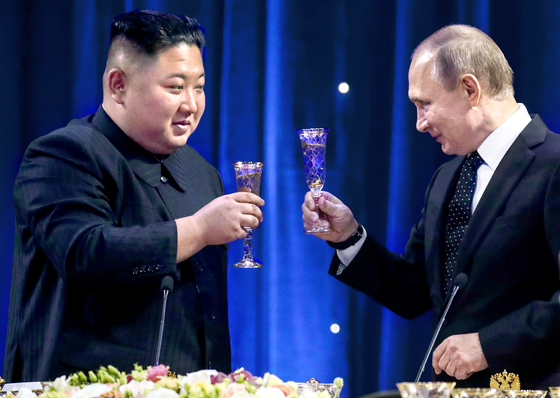 지난 4월 25일 북러 정상회담 당시 김정은 북한 국무위원장과 블라디미르 푸틴 러시아 대통령. [타스=연합뉴스]