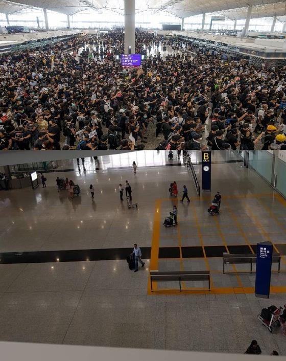 위는 지난 8월 12일 홍콩 공항. 시위로 인해 수백 편의 항공편이 결항됐다. 아래는 16일 오후 홍콩 공항 모습. [로이터=연합, 박성훈 기자]