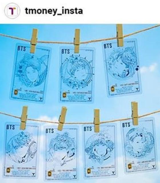 BTS 일러스트 투명 티머니 카드 7종. [티머니 인스타그램 캡처]