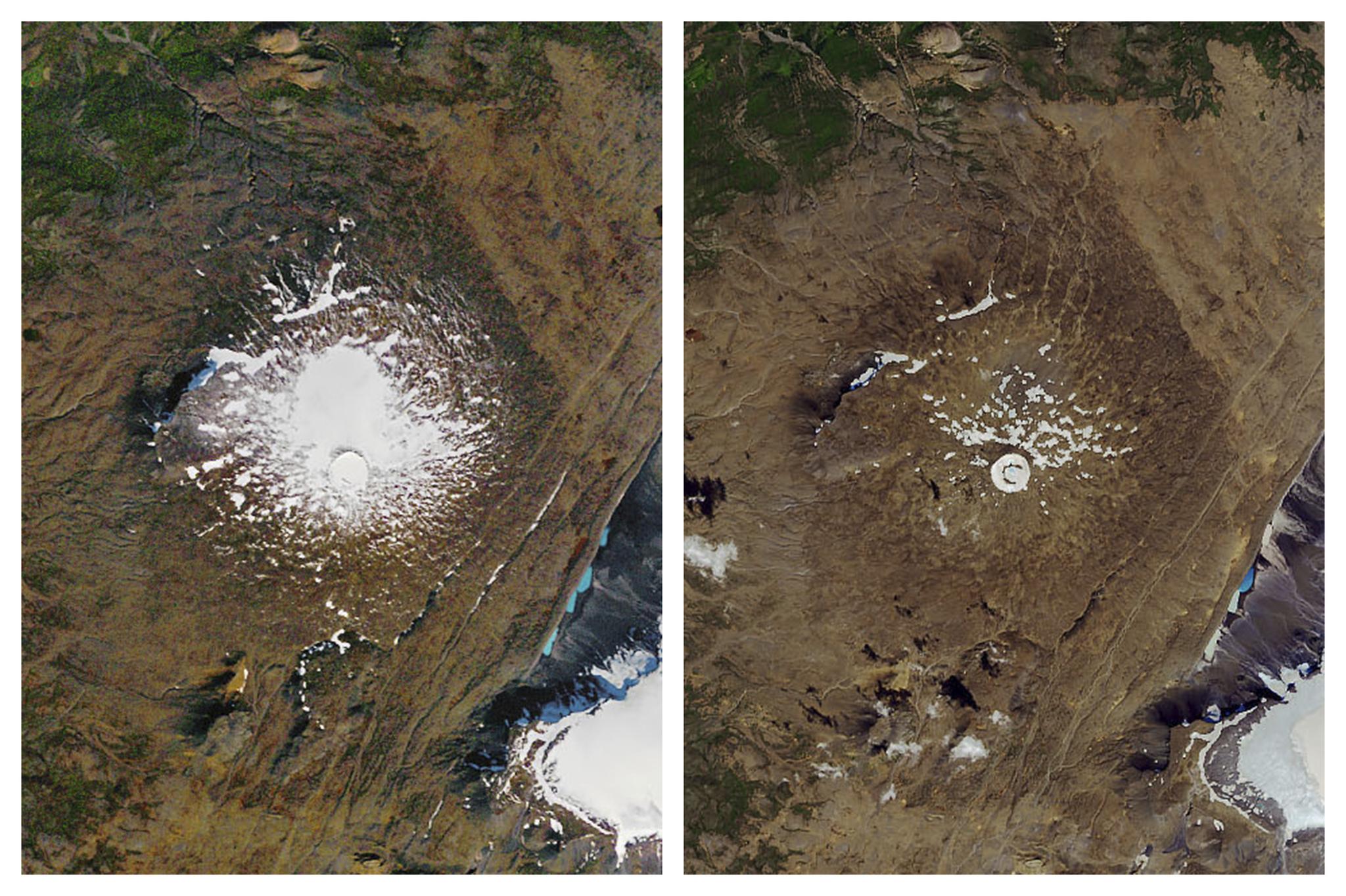 1986년 9월 촬영된 오크예퀴들 빙하(왼쪽 사진)와 2019년 8월 현재 모습. 대부분이 녹아 사라진 상태다. [사진 미국항공우주국(NASA)·EPA=연합뉴스]