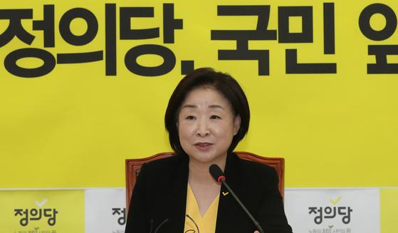 정의당 심상정 대표가 19일 오전 국회에서 취임 1개월 기자회견을 하고 있다. [연합뉴스]