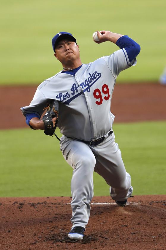 LA 다저스 류현진이 18일 애틀랜타 원정 경기에서 시즌 3패째를 기록했다. [AP=연합뉴스]