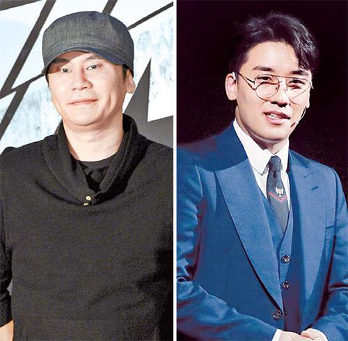 상습도박 혐의로 입건된 YG엔터테인먼트 양현석 전 대표(왼쪽)와 승리. 두 사람은 성매매 알선 혐의도 받고 있다. [중앙포토]